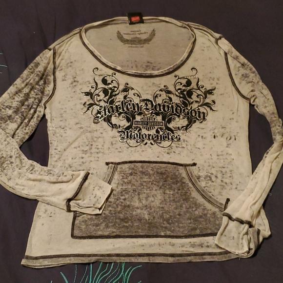 Harley Davidson front pocket sheer pullover